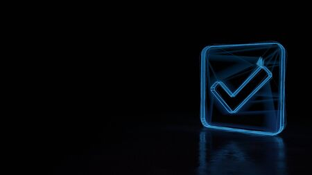 3d techno neon blue glowing wireframe with glitches symbol of check mark in rounded square isolated on black background with distorted reflection on floor