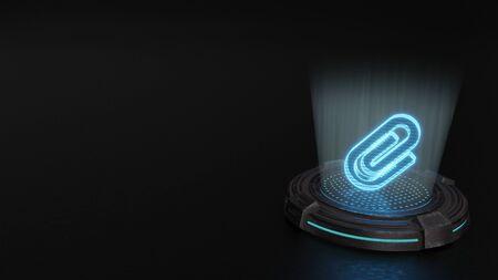 blue stripes digital laser 3d hologram symbol of paper clip render on old metal sci-fi pad background