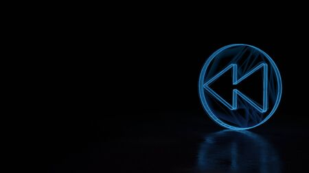 3d techno neon blue glowing wireframe with glitches symbol of rewind sign in circle isolated on black background with distorted reflection on floor