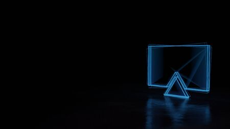 3d techno neon blue glowing wireframe with glitches symbol of flat television isolated on black background with distorted reflection on floor