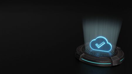 blue stripes digital laser 3d hologram symbol of check mark in cloud render on old metal sci-fi pad background 写真素材