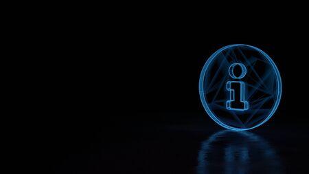 3D-Techno neonblau leuchtender Drahtrahmen mit Glitches-Symbol des Informationszeichens im Kreis isoliert auf schwarzem Hintergrund mit verzerrter Reflexion auf dem Boden