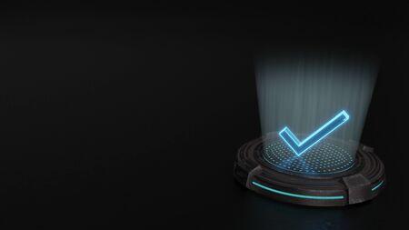 blue stripes digital laser 3d hologram symbol of check sign render on old metal sci-fi pad background