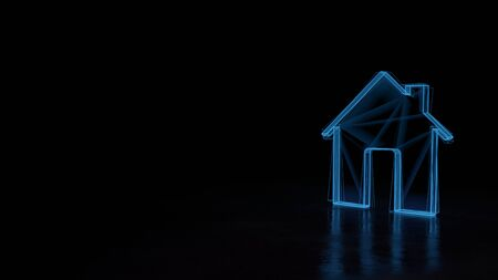 3d techno neon blue glowing wireframe with glitches symbol of home with big door and chimney isolated on black background with distorted reflection on floor Archivio Fotografico - 129873334