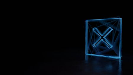 3d techno neon blue glowing wireframe with glitches symbol of cancel cross in square isolated on black background with distorted reflection on floor