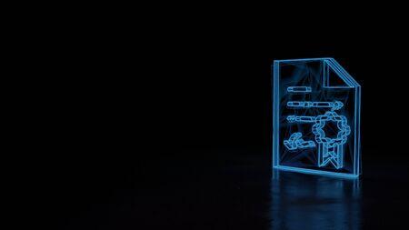 3d techno neon blauw gloeiend draadframe met glitches symbool van diploma met stempel en lint geïsoleerd op zwarte achtergrond met vervormde reflectie op verdieping