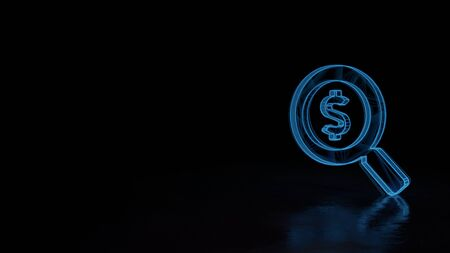 3d techno neon blue glowing wireframe with glitches symbol of magnifying glass with dollar isolated on black background with distorted reflection on floor