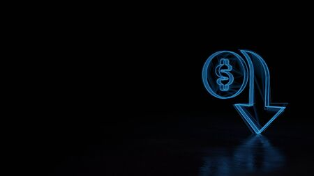 3d techno neon blue glowing wireframe with glitches symbol of dollar symbol and down arrow isolated on black background with distorted reflection on floor