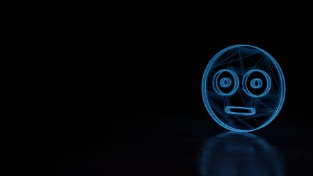 3d techno neon blue glowing wireframe with glitches symbol of flushed emoticon isolated on black background with distorted reflection on floor