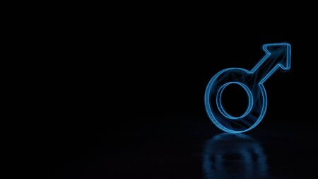3d techno neon blue glowing wireframe with glitches symbol of mars symbol isolated on black background with distorted reflection on floor 写真素材