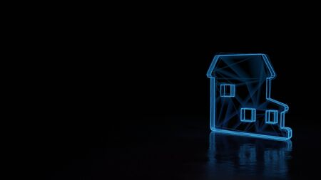 3d techno neon blue glowing wireframe with glitches symbol of villa with terrace isolated on black background with distorted reflection on floor Archivio Fotografico - 129873124