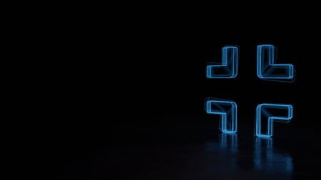 3d techno neon blue glowing wireframe with glitches symbol of compress edges isolated on black background with distorted reflection on floor