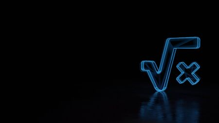 3d techno neon blue glowing wireframe with glitches symbol of root and letter x isolated on black background with distorted reflection on floor