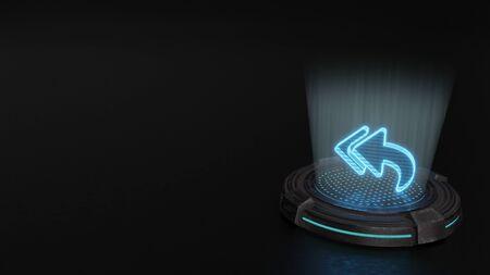 blue stripes digital laser 3d hologram symbol of reply all sign render on old metal sci-fi pad background Stok Fotoğraf