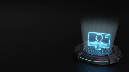 blue stripes digital laser 3d hologram symbol of television with menu on screen render on old metal sci-fi pad background