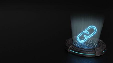 blue stripes digital laser 3d hologram symbol of two thin chain links render on old metal sci-fi pad background Banco de Imagens