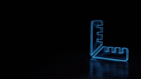3d techno neon blue glowing wireframe with glitches symbol of ruler in right angle shape isolated on black background with distorted reflection on floor Stok Fotoğraf