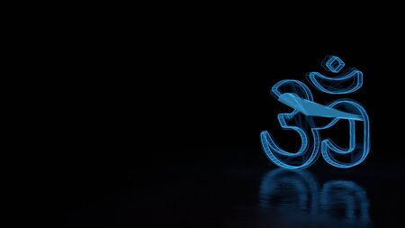 3d techno neon blue glowing wireframe with glitches symbol of om symbol isolated on black background with distorted reflection on floor