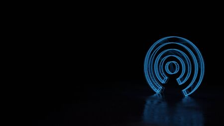 3d techno neon blue glowing wireframe with glitches symbol of connection circular wires isolated on black background with distorted reflection on floor Stok Fotoğraf