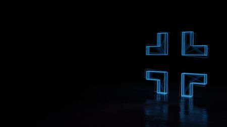 3d techno neon blue glowing wireframe with glitches symbol of exit arrows isolated on black background with distorted reflection on floor