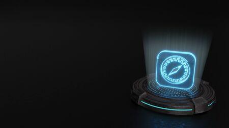 Rayas azules láser digital símbolo de holograma 3d de brújula en cuadrado redondeado render sobre fondo de almohadilla de ciencia ficción de metal antiguo Foto de archivo