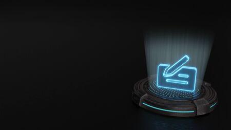 blue stripes digital laser 3d hologram symbol of bank cheque with pen render on old metal sci-fi pad background