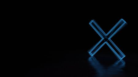 3d techno neon blue glowing wireframe with glitches symbol of cancel cross isolated on black background with distorted reflection on floor