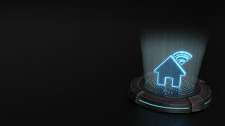 blue stripes digital laser 3d hologram symbol of house with signal wi-fi render on old metal sci-fi pad background