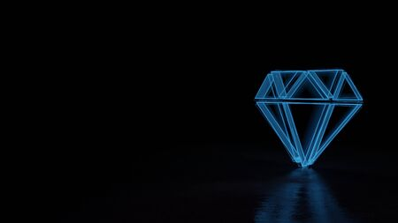 3d techno neon blue glowing wireframe with glitches symbol of precious stone cut isolated on black background with distorted reflection on floor Stok Fotoğraf