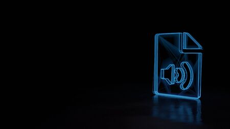 3d techno neon blue glowing wireframe with glitches symbol of paper with bent corner and sound symbol isolated on black background with distorted reflection on floor