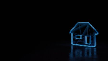 3d techno neon blue glowing wireframe with glitches symbol of house with window and door isolated on black background with distorted reflection on floor Archivio Fotografico - 129872627
