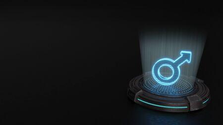 blue stripes digital laser 3d hologram symbol of mars symbol render on old metal sci-fi pad background