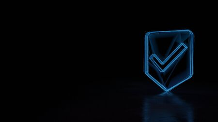 3d techno neon blue glowing wireframe with glitches symbol of label with check mark isolated on black background with distorted reflection on floor