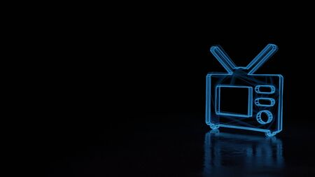 3d techno neon blue glowing wireframe with glitches symbol of old television isolated on black background with distorted reflection on floor