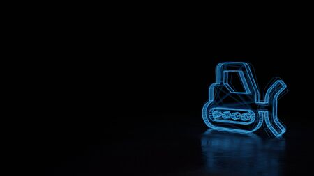 3d techno neon blue glowing wireframe with glitches symbol of snowplow isolated on black background with distorted reflection on floor