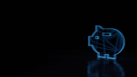 3d techno neon blue glowing wireframe with glitches symbol of piggy bank isolated on black background with distorted reflection on floor