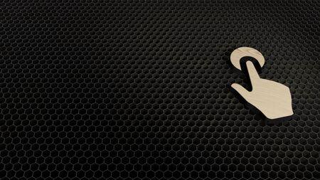 Lasergeschnittenes Sperrholz 3D-Symbol der Hand mit Touch-Geste rendern auf Metallwaben im Hintergrund der Lasergravurmaschine