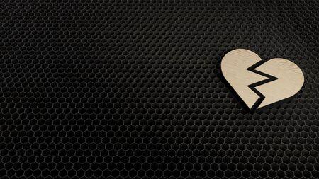 laser cut plywood 3d symbol of broken heart render on metal honeycomb inside laser engraving machine background
