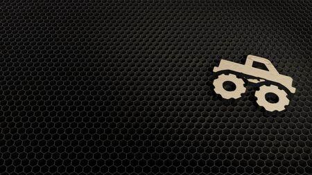 laser cut plywood 3d symbol of monster truck render on metal honeycomb inside laser engraving machine background