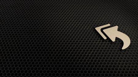 laser cut plywood 3d symbol of reply all sign render on metal honeycomb inside laser engraving machine background Stok Fotoğraf