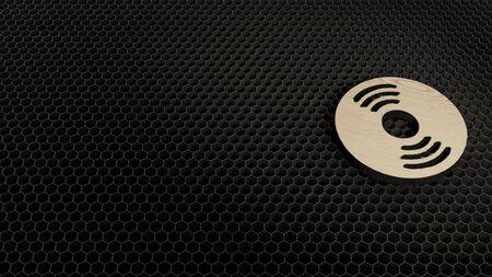 laser cut plywood 3d symbol of circle vinyl disc render on metal honeycomb inside laser engraving machine background Banco de Imagens