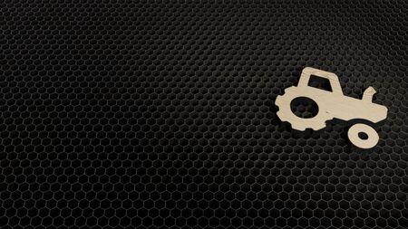 laser cut plywood 3d symbol of tractor render on metal honeycomb inside laser engraving machine background
