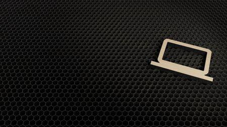 laser cut plywood 3d symbol of laptop render on metal honeycomb inside laser engraving machine background