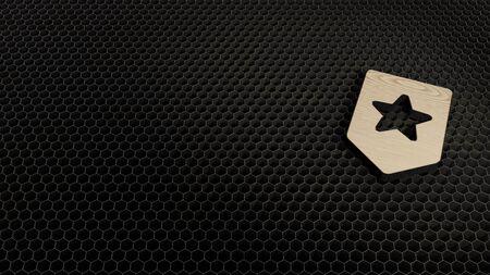 laser cut plywood 3d symbol of label with star render on metal honeycomb inside laser engraving machine background Reklamní fotografie