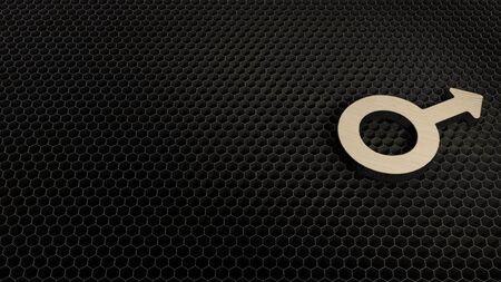 laser cut plywood 3d symbol of mars symbol render on metal honeycomb inside laser engraving machine background
