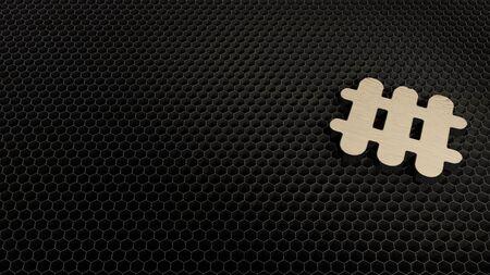 laser cut plywood 3d symbol of heating radiator render on metal honeycomb inside laser engraving machine background