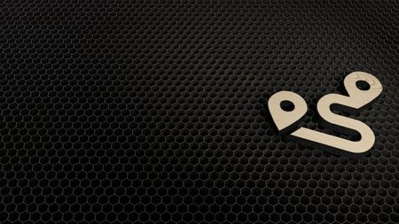 laser cut plywood 3d symbol of placeholders and route render on metal honeycomb inside laser engraving machine background