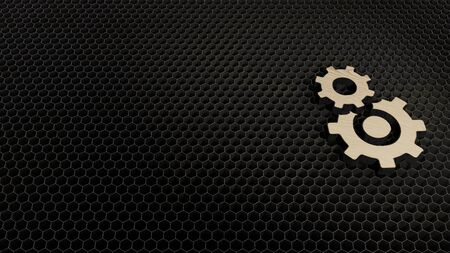 laser cut plywood 3d symbol of cogwheel covers bigger cogwheel render on metal honeycomb inside laser engraving machine background 写真素材