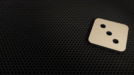 laser cut plywood 3d symbol of dice with three dots render on metal honeycomb inside laser engraving machine background