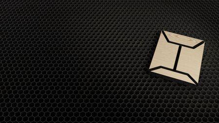 laser cut plywood 3d symbol of sealed envelope with flaps render on metal honeycomb inside laser engraving machine background